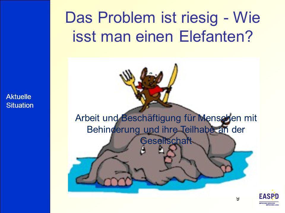 Das Problem ist riesig - Wie isst man einen Elefanten? 9 Arbeit und Beschäftigung für Menschen mit Behinderung und ihre Teilhabe an der Gesellschaft A