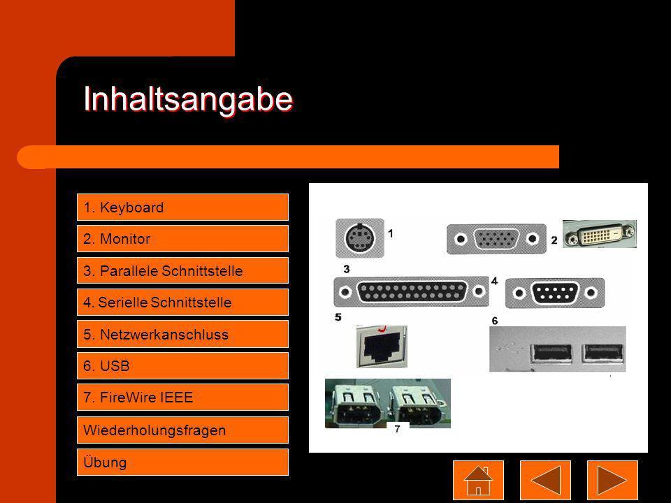 Inhaltsangabe 1. Keyboard 2. Monitor 3. Parallele Schnittstelle 4. Serielle Schnittstelle 5. Netzwerkanschluss 6. USB Wiederholungsfragen 7. FireWire