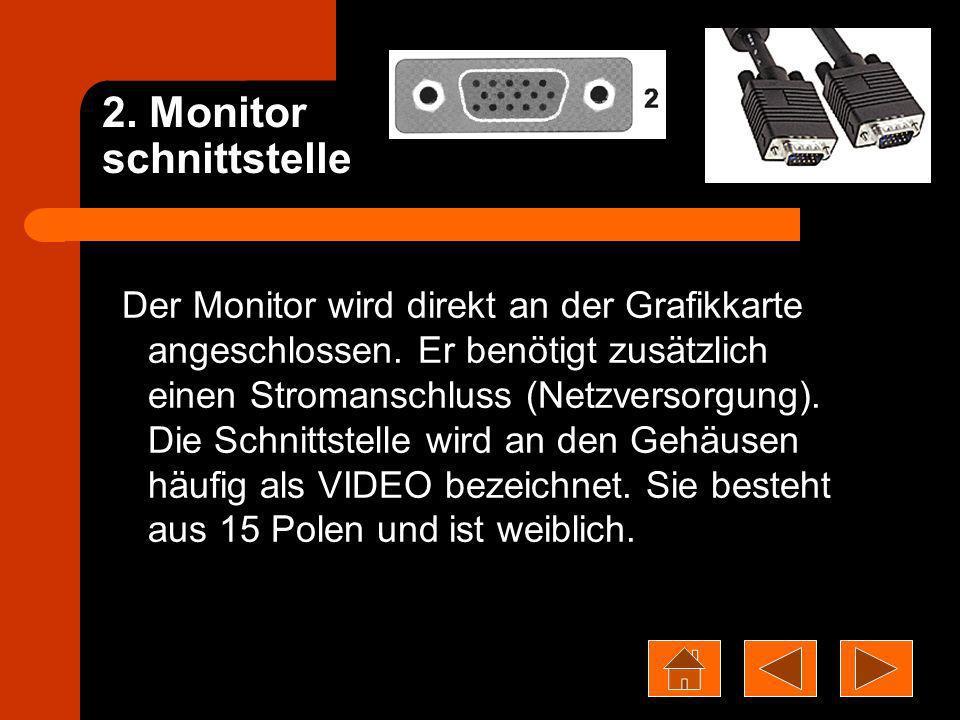 2. Monitor schnittstelle Der Monitor wird direkt an der Grafikkarte angeschlossen. Er benötigt zusätzlich einen Stromanschluss (Netzversorgung). Die S