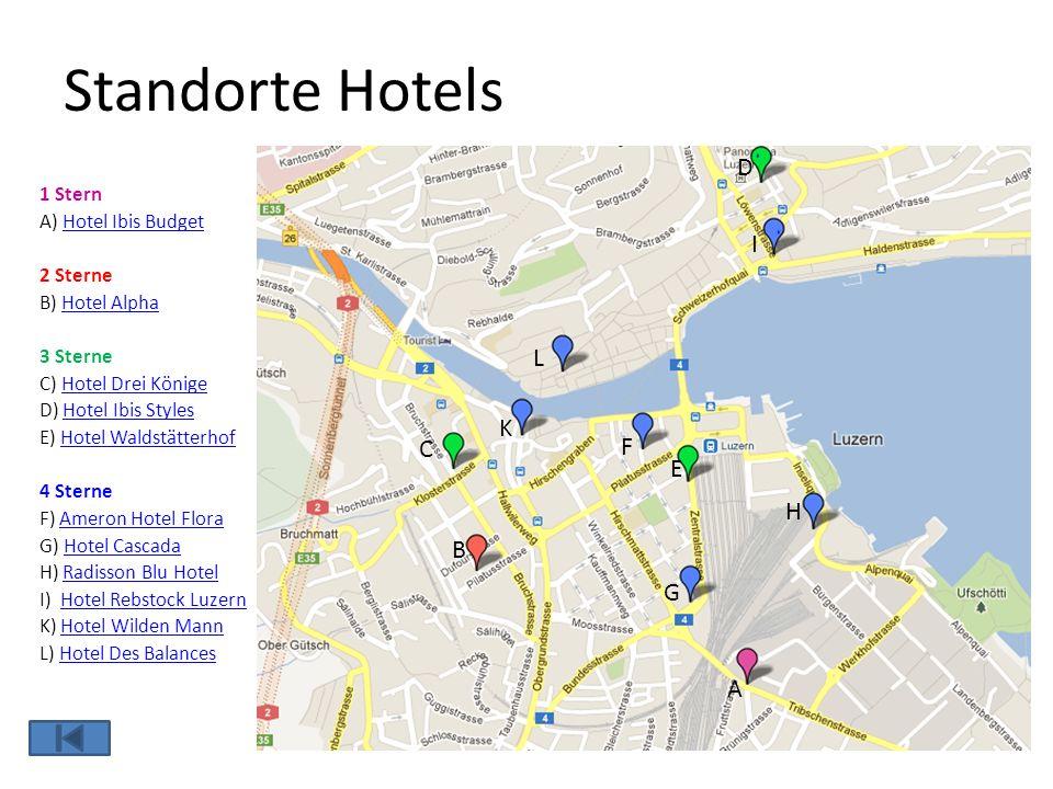 Standorte Hotels 1 Stern A) Hotel Ibis BudgetHotel Ibis Budget 2 Sterne B) Hotel AlphaHotel Alpha 3 Sterne C) Hotel Drei KönigeHotel Drei Könige D) Ho