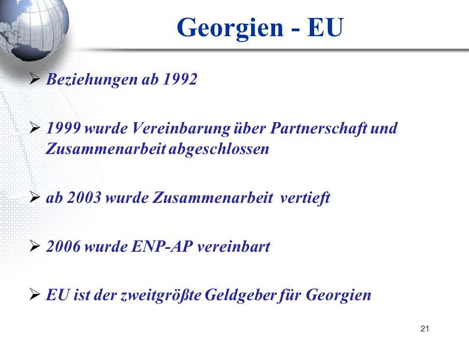 21 Georgien - EU Beziehungen ab 1992 1999 wurde Vereinbarung über Partnerschaft und Zusammenarbeit abgeschlossen ab 2003 wurde Zusammenarbeit vertieft