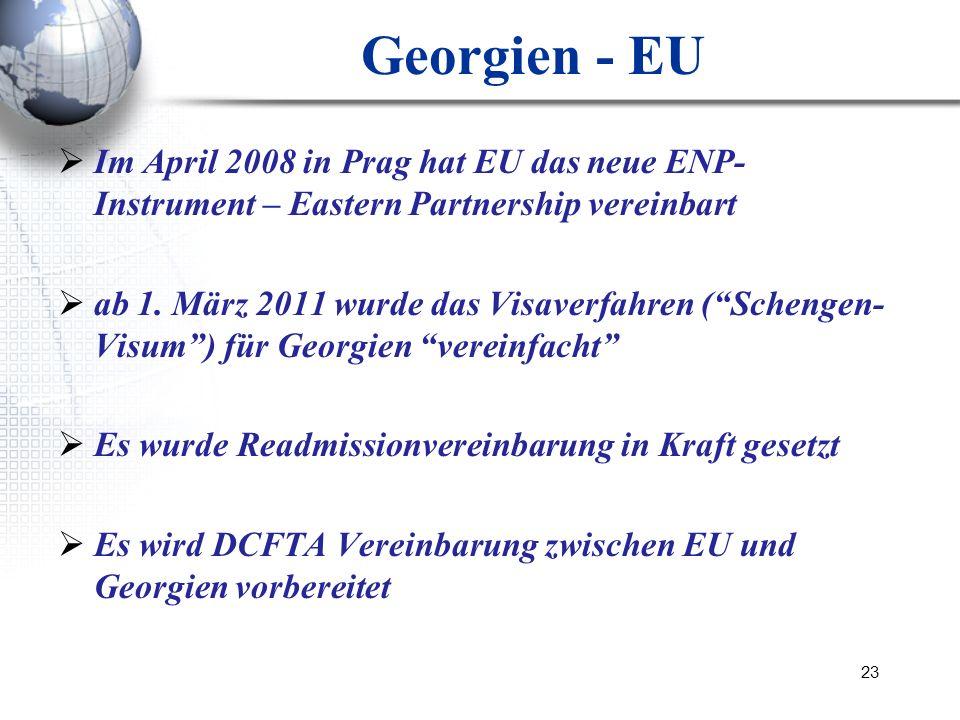 23 Georgien - EU Im April 2008 in Prag hat EU das neue ENP- Instrument – Eastern Partnership vereinbart ab 1. März 2011 wurde das Visaverfahren (Schen