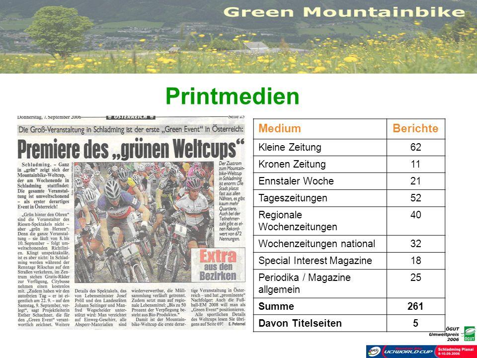Printmedien MediumBerichte Kleine Zeitung62 Kronen Zeitung11 Ennstaler Woche21 Tageszeitungen52 Regionale Wochenzeitungen 40 Wochenzeitungen national3
