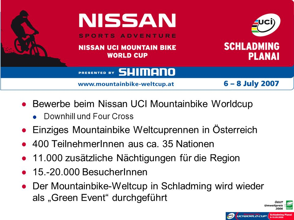 Bewerbe beim Nissan UCI Mountainbike Worldcup Downhill und Four Cross Einziges Mountainbike Weltcuprennen in Österreich 400 TeilnehmerInnen aus ca. 35