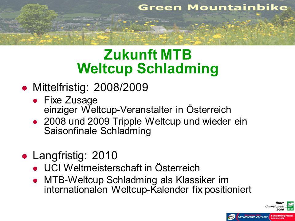 Zukunft MTB Weltcup Schladming Mittelfristig: 2008/2009 Fixe Zusage einziger Weltcup-Veranstalter in Österreich 2008 und 2009 Tripple Weltcup und wied