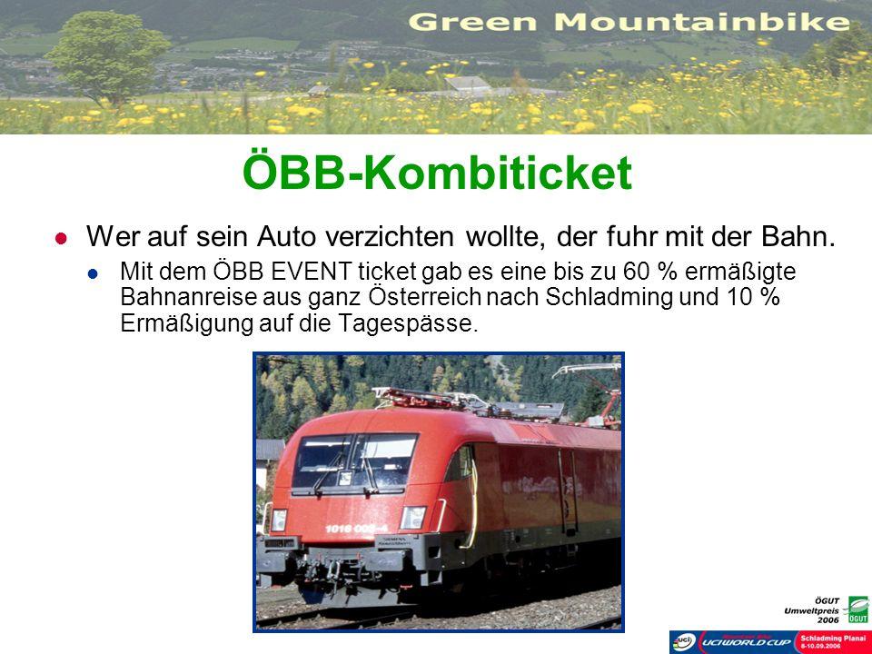 ÖBB-Kombiticket Wer auf sein Auto verzichten wollte, der fuhr mit der Bahn. Mit dem ÖBB EVENT ticket gab es eine bis zu 60 % ermäßigte Bahnanreise aus