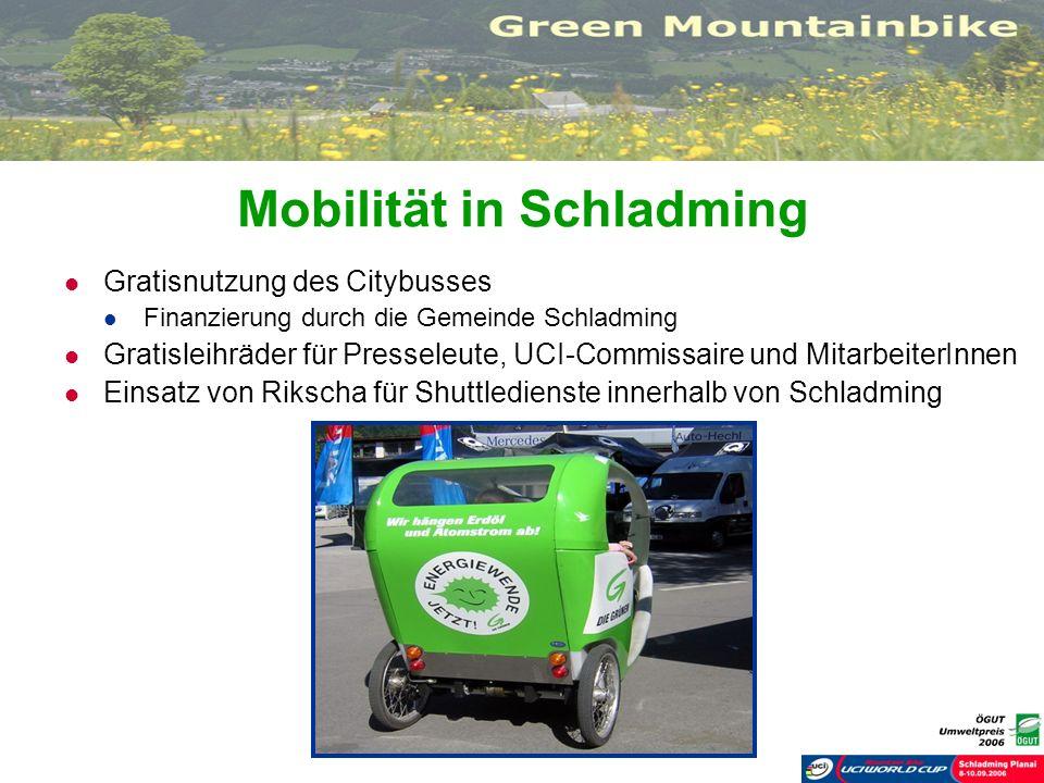 Mobilität in Schladming Gratisnutzung des Citybusses Finanzierung durch die Gemeinde Schladming Gratisleihräder für Presseleute, UCI-Commissaire und M