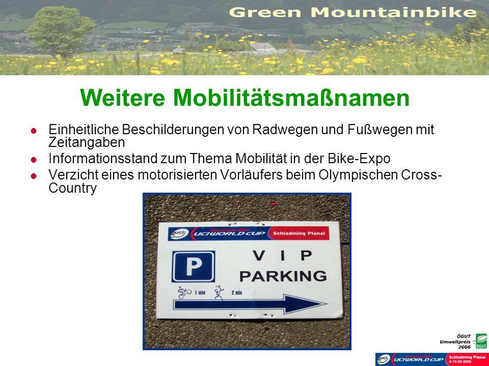 Weitere Mobilitätsmaßnamen Einheitliche Beschilderungen von Radwegen und Fußwegen mit Zeitangaben Informationsstand zum Thema Mobilität in der Bike-Ex