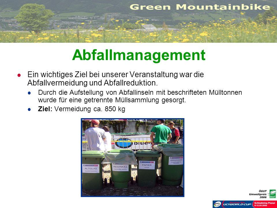 Abfallmanagement Ein wichtiges Ziel bei unserer Veranstaltung war die Abfallvermeidung und Abfallreduktion. Durch die Aufstellung von Abfallinseln mit
