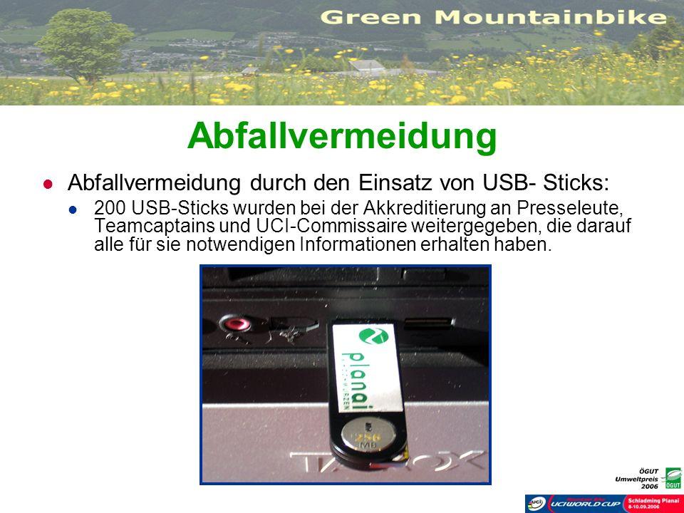 Abfallvermeidung Abfallvermeidung durch den Einsatz von USB- Sticks: 200 USB-Sticks wurden bei der Akkreditierung an Presseleute, Teamcaptains und UCI