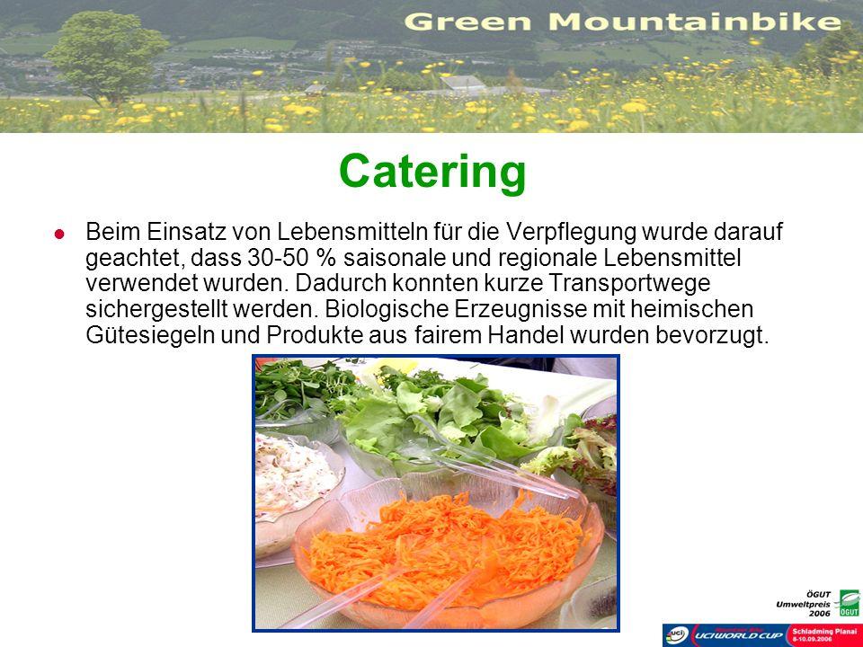 Catering Beim Einsatz von Lebensmitteln für die Verpflegung wurde darauf geachtet, dass 30-50 % saisonale und regionale Lebensmittel verwendet wurden.