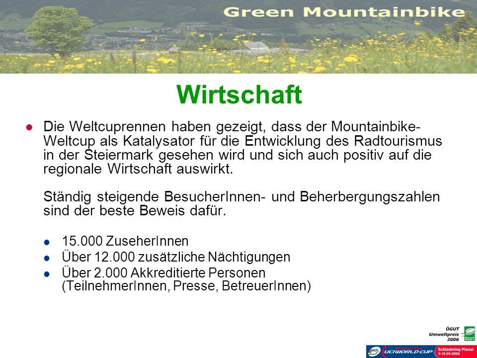 Wirtschaft Die Weltcuprennen haben gezeigt, dass der Mountainbike- Weltcup als Katalysator für die Entwicklung des Radtourismus in der Steiermark gese