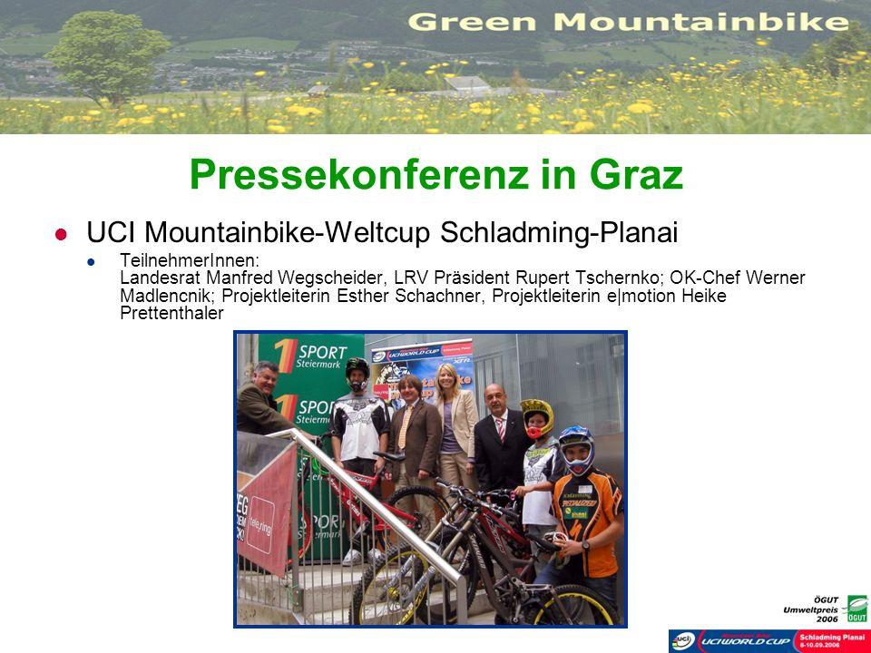 Pressekonferenz in Graz UCI Mountainbike-Weltcup Schladming-Planai TeilnehmerInnen: Landesrat Manfred Wegscheider, LRV Präsident Rupert Tschernko; OK-