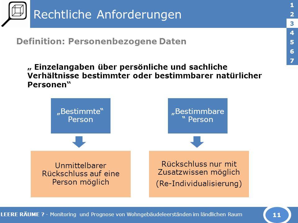 LEERE RÄUME ? - Monitoring und Prognose von Wohngebäudeleerständen im ländlichen Raum Rechtliche Anforderungen Definition: Personenbezogene Daten Einz