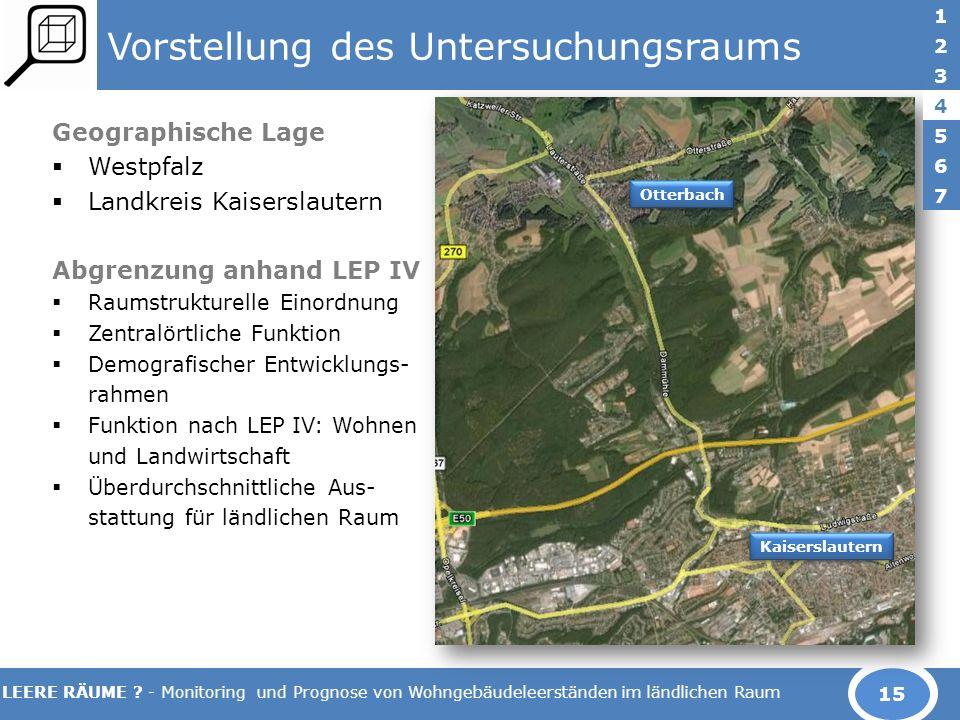 LEERE RÄUME ? - Monitoring und Prognose von Wohngebäudeleerständen im ländlichen Raum Vorstellung des Untersuchungsraums Geographische Lage Westpfalz