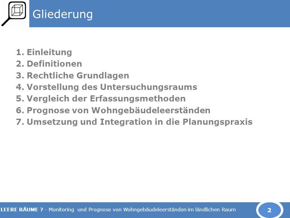 LEERE RÄUME ? - Monitoring und Prognose von Wohngebäudeleerständen im ländlichen Raum Gliederung 1.Einleitung 2.Definitionen 3.Rechtliche Grundlagen 4