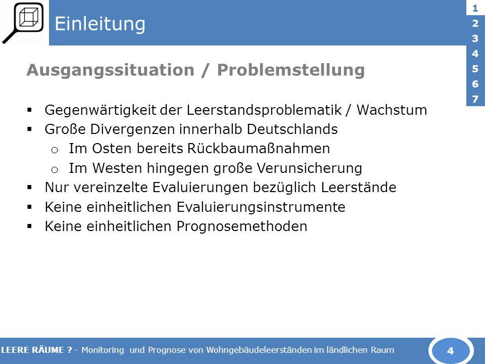 LEERE RÄUME ? - Monitoring und Prognose von Wohngebäudeleerständen im ländlichen Raum Einleitung Ausgangssituation / Problemstellung Gegenwärtigkeit d