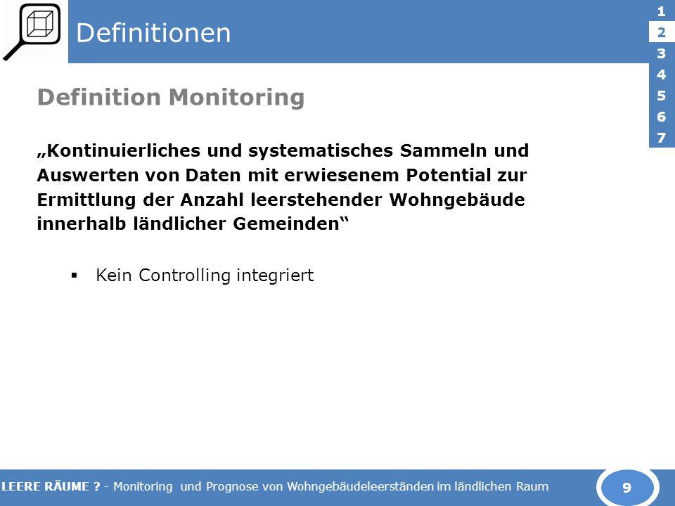 LEERE RÄUME ? - Monitoring und Prognose von Wohngebäudeleerständen im ländlichen Raum Definitionen Definition Monitoring Kontinuierliches und systemat