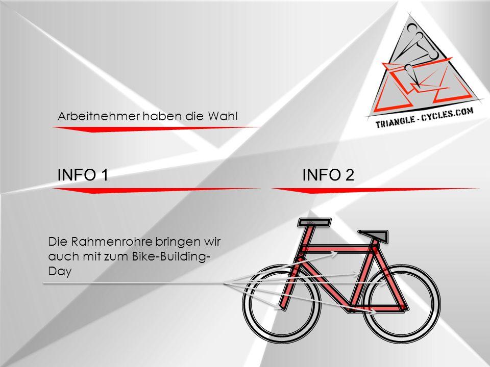 Arbeitnehmer haben die Wahl INFO 1INFO 2 Die Rahmenrohre bringen wir auch mit zum Bike-Building- Day