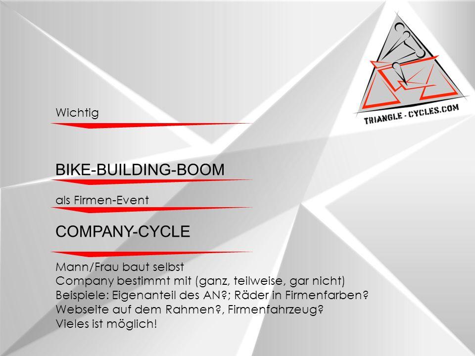 Wichtig BIKE-BUILDING-BOOM als Firmen-Event COMPANY-CYCLE Mann/Frau baut selbst Company bestimmt mit (ganz, teilweise, gar nicht) Beispiele: Eigenanteil des AN?; Räder in Firmenfarben.