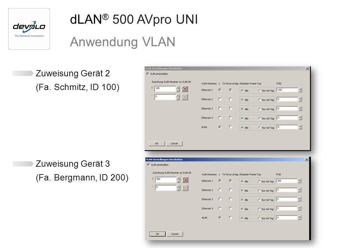 dLAN ® 500 AVpro UNI Anwendung VLAN Zuweisung Gerät 2 (Fa. Schmitz, ID 100) Zuweisung Gerät 3 (Fa. Bergmann, ID 200)