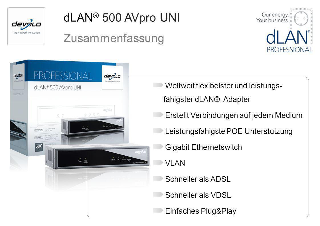 dLAN ® 500 AVpro UNI Zusammenfassung Weltweit flexibelster und leistungs- fähigster dLAN® Adapter Erstellt Verbindungen auf jedem Medium Leistungsfähi