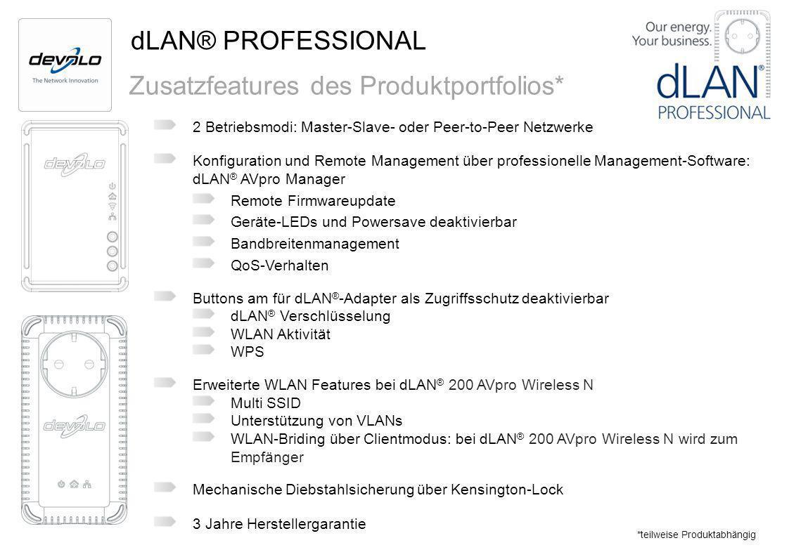 dLAN® PROFESSIONAL Zusatzfeatures des Produktportfolios* 2 Betriebsmodi: Master-Slave- oder Peer-to-Peer Netzwerke Konfiguration und Remote Management