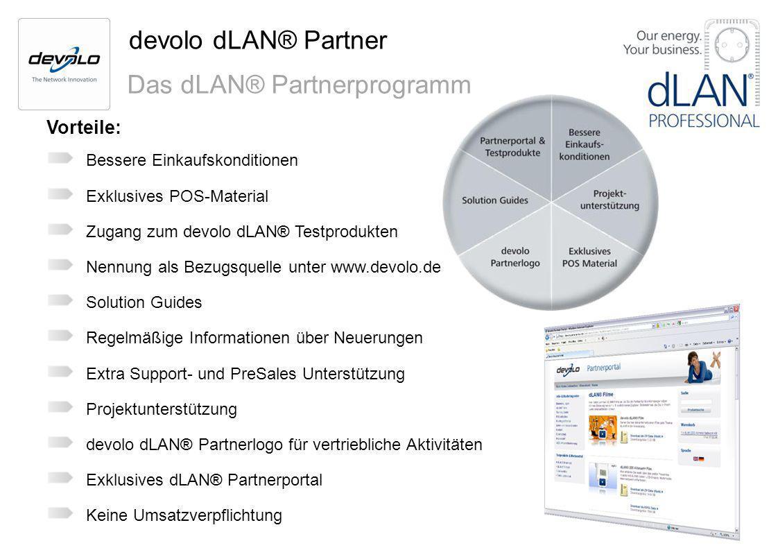 devolo dLAN® Partner Das dLAN® Partnerprogramm Vorteile: Bessere Einkaufskonditionen Exklusives POS-Material Zugang zum devolo dLAN® Testprodukten Nen
