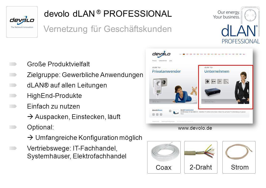 devolo dLAN ® PROFESSIONAL Vernetzung für Geschäftskunden Große Produktvielfalt Zielgruppe: Gewerbliche Anwendungen dLAN® auf allen Leitungen HighEnd-