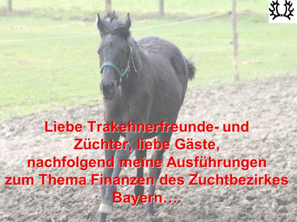 Liebe Trakehnerfreunde- und Züchter, liebe Gäste, nachfolgend meine Ausführungen zum Thema Finanzen des Zuchtbezirkes Bayern….