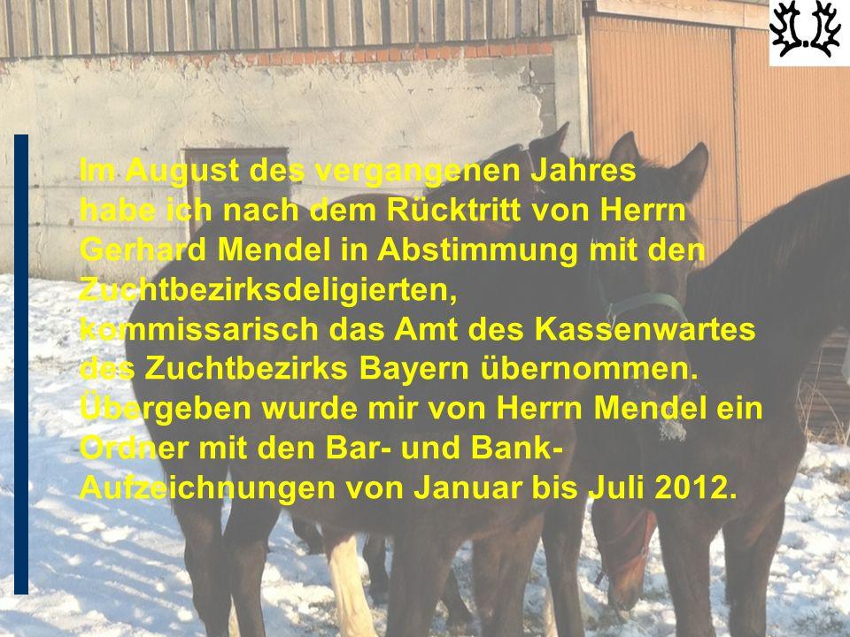 Im August des vergangenen Jahres habe ich nach dem Rücktritt von Herrn Gerhard Mendel in Abstimmung mit den Zuchtbezirksdeligierten, kommissarisch das Amt des Kassenwartes des Zuchtbezirks Bayern übernommen.