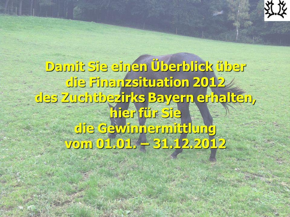 Damit Sie einen Überblick über die Finanzsituation 2012 des Zuchtbezirks Bayern erhalten, hier für Sie die Gewinnermittlung vom 01.01.