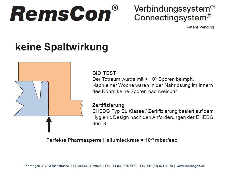 Rohrbogen AG | Wasenstrasse 13 | CH-4133 Pratteln | Tel. +41 (61) 826 55 11 | Fax +41 (61) 821 13 58 | www.rohrbogen.ch Perfekte Pharmasperre Heliumle