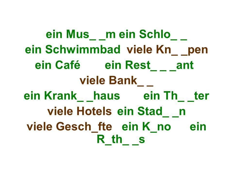 ein Mus_ _m ein Schlo_ _ ein Schwimmbad viele Kn_ _pen ein Café ein Rest_ _ _ant viele Bank_ _ ein Krank_ _haus ein Th_ _ter viele Hotels ein Stad_ _n