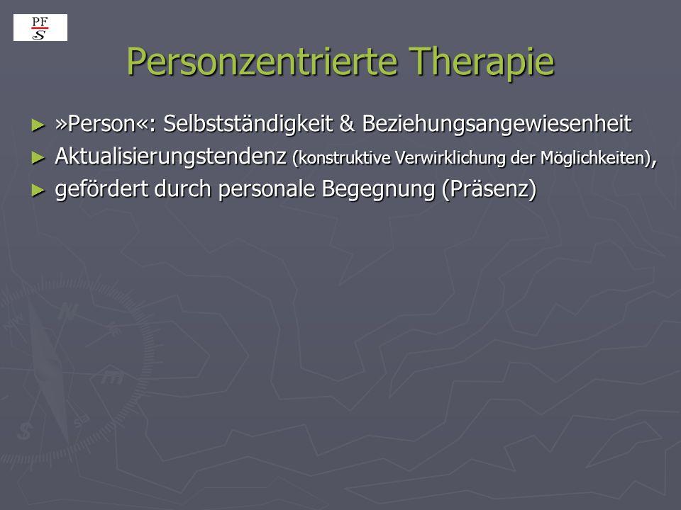 Personzentrierte Therapie »Person«: Selbstständigkeit & Beziehungsangewiesenheit »Person«: Selbstständigkeit & Beziehungsangewiesenheit Aktualisierung