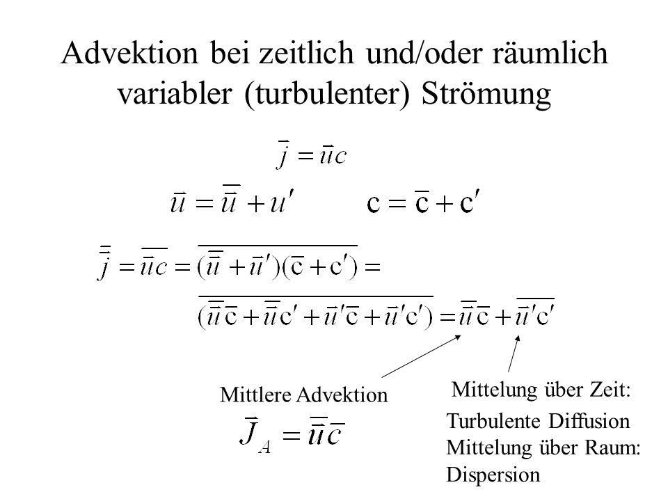Advektion bei zeitlich und/oder räumlich variabler (turbulenter) Strömung Mittlere Advektion Turbulente Diffusion Mittelung über Raum: Dispersion Mitt