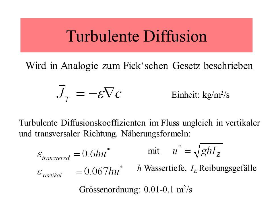Turbulente Diffusion Wird in Analogie zum Fickschen Gesetz beschrieben Turbulente Diffusionskoeffizienten im Fluss ungleich in vertikaler und transver