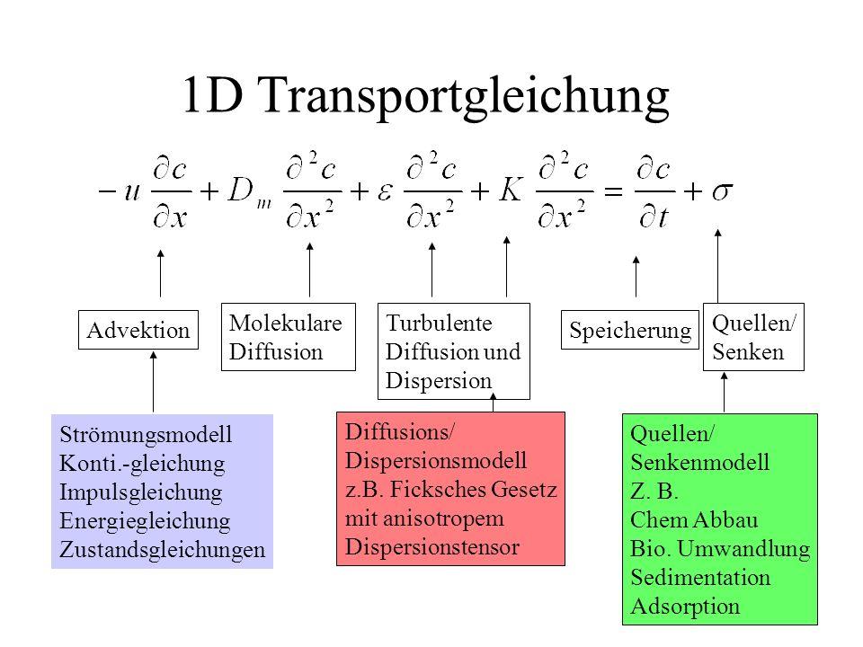 Turbulente Diffusion und Dispersion 1D Transportgleichung Advektion Molekulare Diffusion Speicherung Quellen/ Senken Strömungsmodell Konti.-gleichung