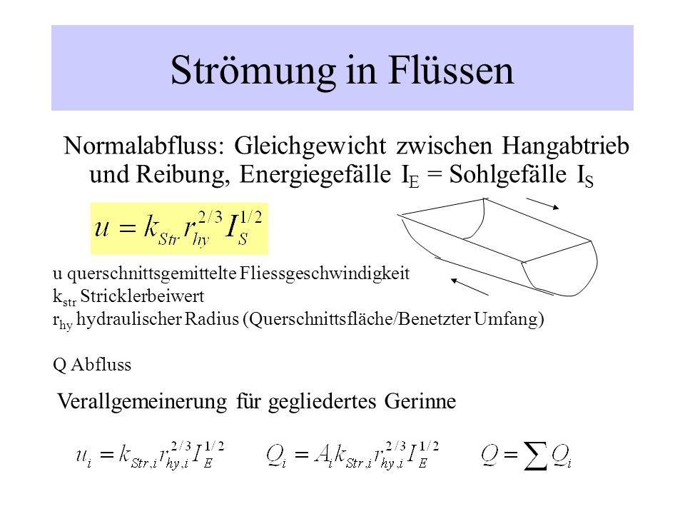 Strömung in Flüssen Normalabfluss: Gleichgewicht zwischen Hangabtrieb und Reibung, Energiegefälle I E = Sohlgefälle I S u querschnittsgemittelte Flies