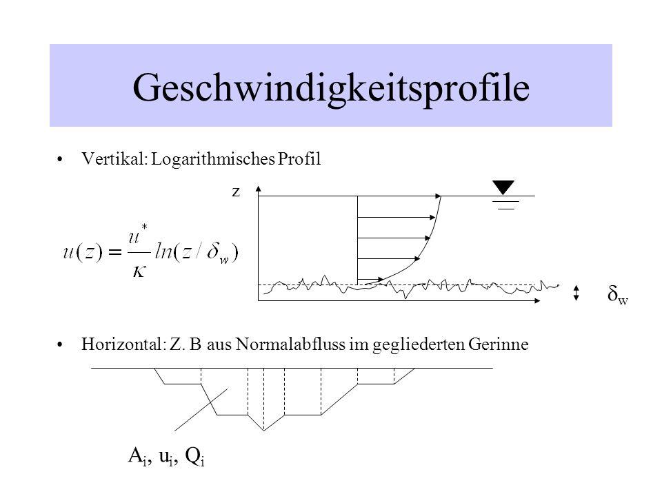 Geschwindigkeitsprofile Vertikal: Logarithmisches Profil Horizontal: Z. B aus Normalabfluss im gegliederten Gerinne w A i, u i, Q i z