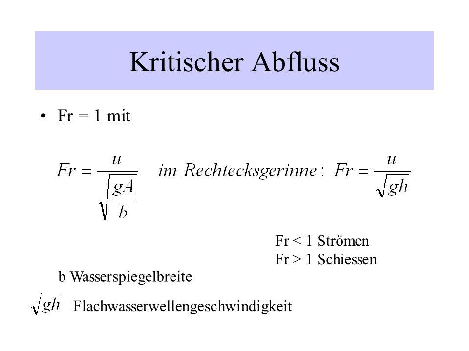 Kritischer Abfluss Fr = 1 mit b Wasserspiegelbreite Flachwasserwellengeschwindigkeit Fr < 1 Strömen Fr > 1 Schiessen