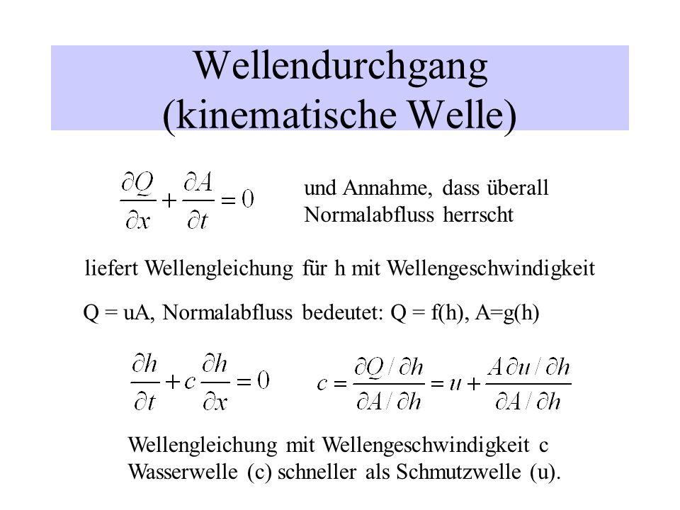 Wellendurchgang (kinematische Welle) und Annahme, dass überall Normalabfluss herrscht liefert Wellengleichung für h mit Wellengeschwindigkeit Q = uA,