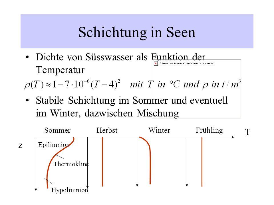Schichtung in Seen Dichte von Süsswasser als Funktion der Temperatur Stabile Schichtung im Sommer und eventuell im Winter, dazwischen Mischung T z Som