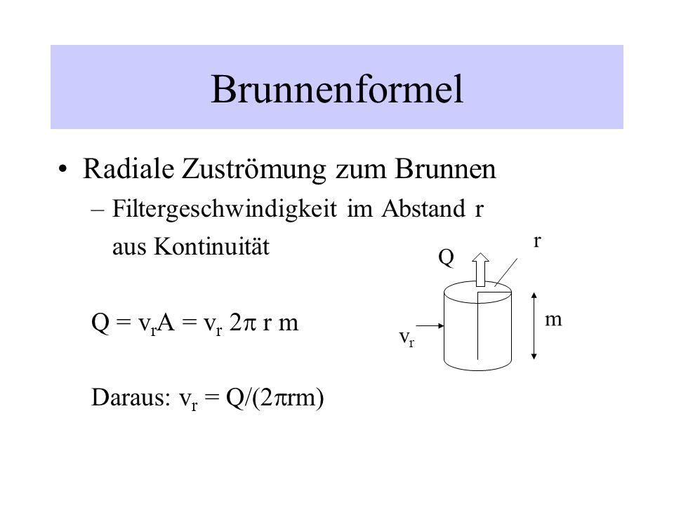 Brunnenformel Radiale Zuströmung zum Brunnen –Filtergeschwindigkeit im Abstand r aus Kontinuität Q = v r A = v r 2 r m Daraus: v r = Q/(2 rm) vrvr r m
