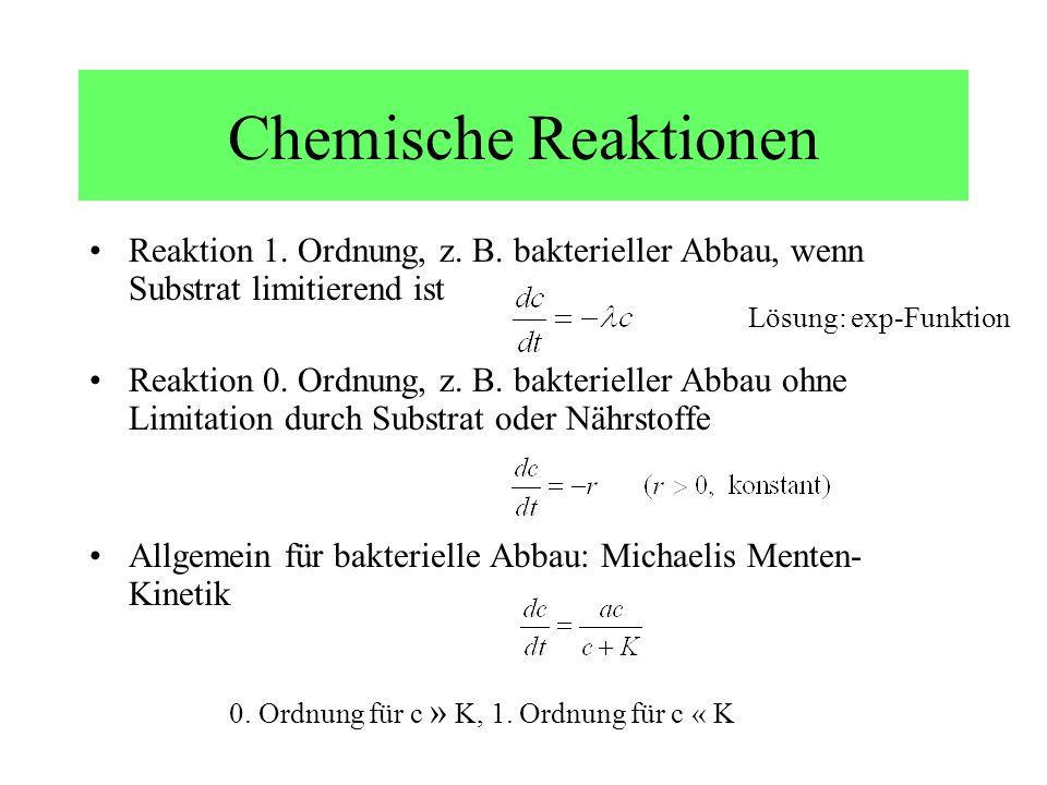 Chemische Reaktionen Reaktion 1. Ordnung, z. B. bakterieller Abbau, wenn Substrat limitierend ist Reaktion 0. Ordnung, z. B. bakterieller Abbau ohne L