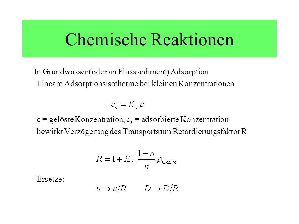 Chemische Reaktionen In Grundwasser (oder an Flusssediment) Adsorption Lineare Adsorptionsisotherme bei kleinen Konzentrationen c = gelöste Konzentrat