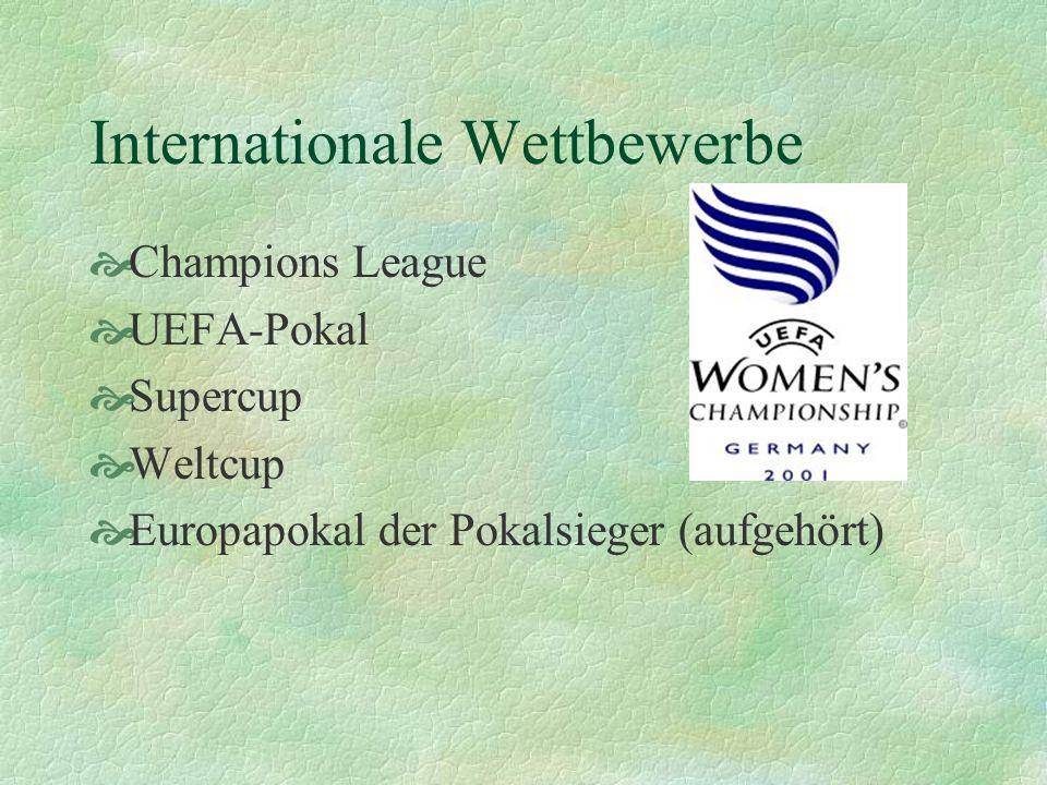 Internationale Wettbewerbe Champions League UEFA-Pokal Supercup Weltcup Europapokal der Pokalsieger (aufgehört)