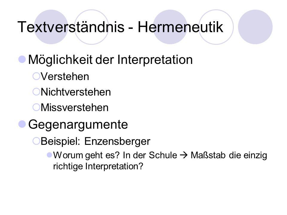 Textverständnis - Hermeneutik Möglichkeit der Interpretation Verstehen Nichtverstehen Missverstehen Gegenargumente Beispiel: Enzensberger Worum geht e