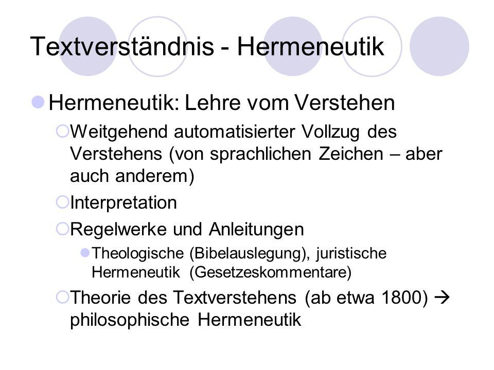 Textverständnis - Hermeneutik Hermeneutik: Lehre vom Verstehen Weitgehend automatisierter Vollzug des Verstehens (von sprachlichen Zeichen – aber auch