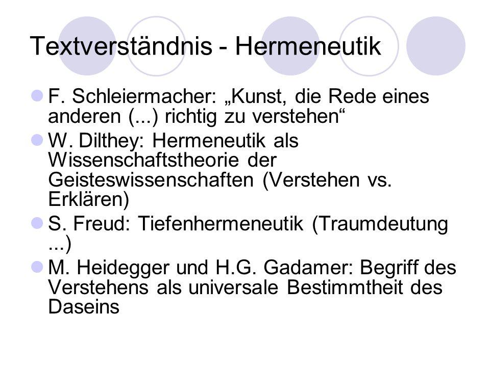Textverständnis - Hermeneutik F. Schleiermacher: Kunst, die Rede eines anderen (...) richtig zu verstehen W. Dilthey: Hermeneutik als Wissenschaftsthe